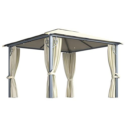 vidaXL Cenador con Cortina y Tira de Luces Lateral Pérgola Jardín Patio Toldo Sombrilla Parasol Tienda Carpa Marquesina Aluminio Crema 300x300 cm