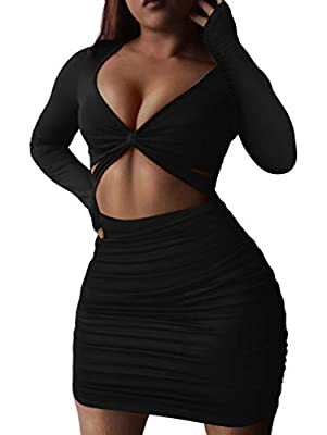 Material: polyester +spandex, elastic, comfortable, breathable, good for the skin. The fabric is thick enough that it is not see-through at all. Feature: sexy cutout, long sleeve, solid color,one piece bodycon mini dress.The gorgeous color is such a ...