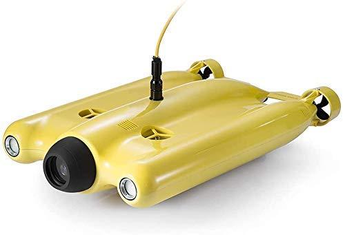 Drone subacqueo, droni Drone subacqueo Sottomarino in Miniatura a Cinque Ruote motrici Drone subacqueo con videocamera 4K profondit di Blocco a Un Pulsante 100 M, Giallo. (Advanced PRO), A