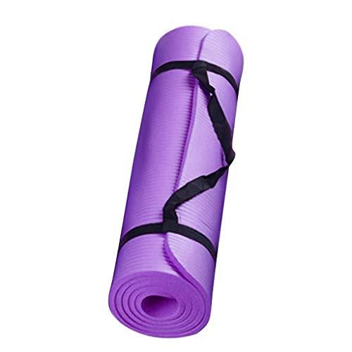 riou Yogamatte rutschfest Schadstofffrei 15 mm Dicke Haltbare mit Tragegurt Sport Fitness Yoga Pilate Matte Gymnastikmatte (Lila)