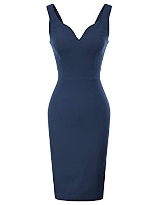 Style: Sexy Deep V Neckline, Sleeveless Details, Slim Fitting, U-Back, A Concealed Back Zipper, Hips-wrapped silhouette Suitable for cocktail, church, graduation, party, evening party, wedding, night out, etc; The sweetheart v neck show a little bit ...