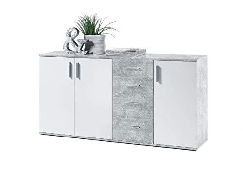 AVANTI TRENDSTORE - BEA - Com e cassettiere, in Legno Laminato e Bianco, Disponibile in 2 Diversi Colori e 3 Diverse Dimensioni (Marrone-Bianco, 160x82x35 cm) (Cemento Bianco)