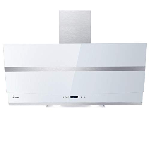 KKT KOLBE Cappa aspirante da cucina / 90 cm/acciaio inox/vetro bianco/WIFI/extra silenziosa / 4 gradini/illuminazione LED RGBW/tasti sensore TouchSelect / HERMES907WM