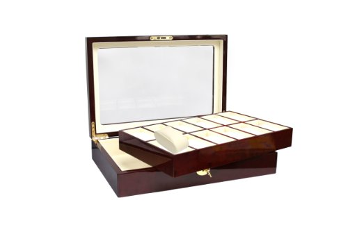 SAFE 260 Lackholz Uhrenaufbewahrungsbox Herren Damen aus Holz für 12 Uhren - mahagonifarbend - einzeln abnehmbare Fächer - Verschließbar - mit Klarsicht Deckel - Format 360 x 238 x 76 mm