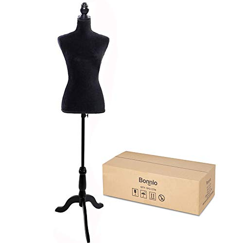 Bonnlo Female Dress Form Pinnable Mannequin Body Torso with Wooden Tripod Base Stand (Black, 6)