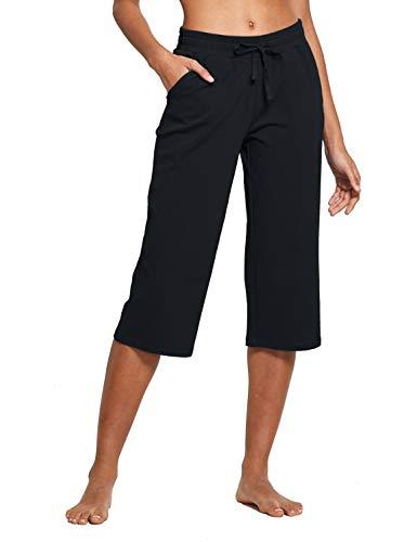BALEAF Women's Active Yoga Lounge Indoor Jersey Capri Pocketed Walking Crop Pants Black Size L 1