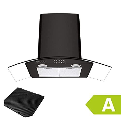 CIARRA CBCB9506B Cappa Aspirante Cucina 90 cm in Vetro e Acciaio Inox, Aspirazione per 650 m/h, 3 Velocit, con Luce LED, Sfiatare All'esterno