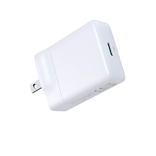 AUKEY USB-C Charger with 27W Power Delivery 3.0, Ultra-Slim USB PD Wall Charger with Foldable Plug, Compatible with iPhone 11 / Pro/Pro Max, AirPods Pro, Nintendo Switch, MacBook Air, and More