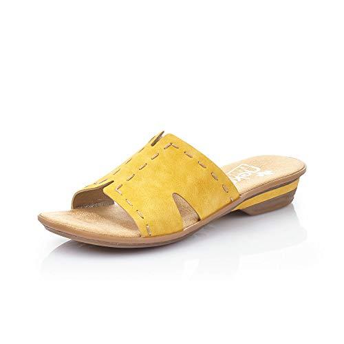 Rieker Mujer Zuecos 63492, señora Mulas,Zapatilla,Sandalia,Zapato de Verano,Zapato Casual,Sonne,38 EU / 5 UK