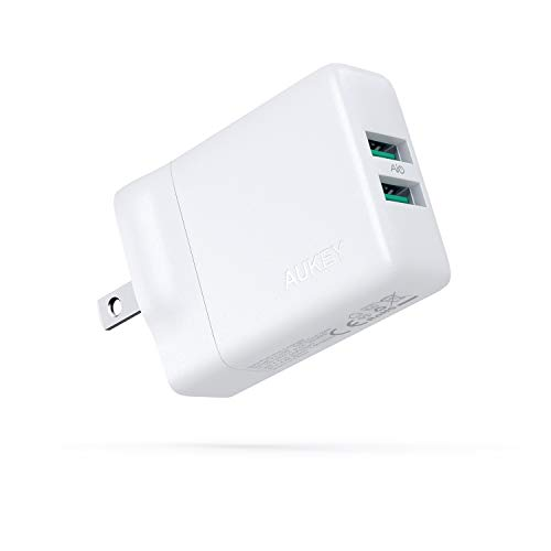 AUKEY AiPower 24W USB Wall Charger Dual Port Power Adapter with GaN Tech, Compact USB Type C Charger Compatible with iPhone 11/XS/XS Max/XR/8, Samsung Galaxy S9/S8, iPad Pro/Air 2 / Mini 4, and More