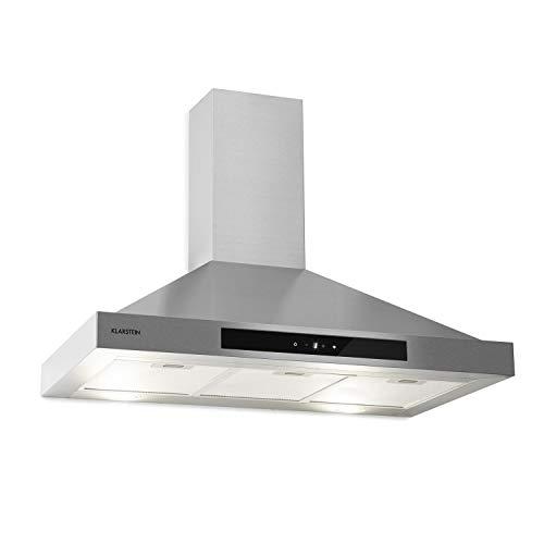 KLARSTEIN Zelda Eco - Cappa Aspirante, Classe Energetica A+, 410 m/h, Ricircolo/Scarico, a Parete, 240 W, 3 Livelli, Luce LED, Touch Control, 90 cm, Argento
