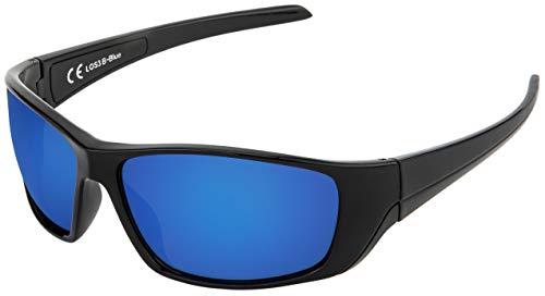 La Optica B.L.M. UV400 CAT 3 Unisex Damen Herren Sonnenbrille Sportbrille Fahrradbrille Auto - Schwarz (Gläser: Blau Verspiegelt)