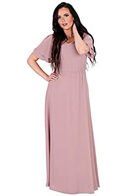 Elegant & classy - modest chiffon maxi dress with gathered elastic waist & long, flowing skirt Beautiful v-neckline & gorgeous tiered flutter sleeves add some flair to a simply styled dress Perfect for wearing to church, out on a date or as a modest ...