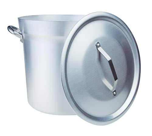 Pentole Agnelli, FAMA85BC32, Pentola Pomodoro in Alluminio con 2 Maniglie + Coperchio pesante, Tipo Nord, Diametro 32 cm, 25 Litri, Argento