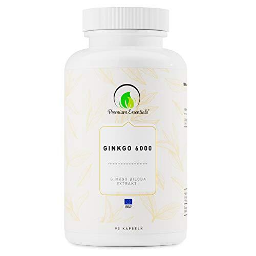 Ginkgo 6000, 90 Kapseln (vegan) Ginkgo Biloba Extrakt   Kann unterstützend wirken für Gedächtnis und Konzentration