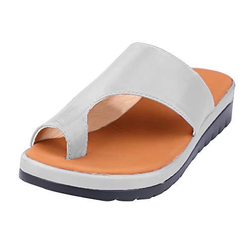 Sandalias Mujer Sandalias con Meseta Zapatos cómodos para la Playa Sandalias de Verano Alpargatas Elegantes para Mujeres con Sandalias de Punta Abierta Mujeres Hallux Valgus (38 EU, Plata)