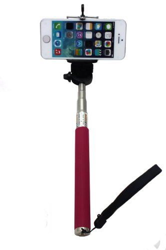 【Bellstone】2WAY 手持て型 軽量 携帯便利 長さや角度自由調整可 スマホやカメラ写真撮影用スタンドiphone 4 5 5s, samsung S3 S4 S5などの携帯電話やCanon OLYMPUS Nikon SONY PENTAX各社小型カメラの写真取用可 (ピンク)