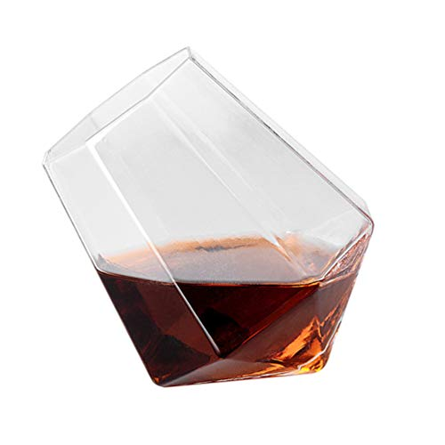 JAY-LONG 6 Pack Crystal Whiskey Glass, 280ML Handcrafted Octagon Beer Scotch Brandy Red Wine Cups, for Whiskey Brandy Lovers, Bar, Party