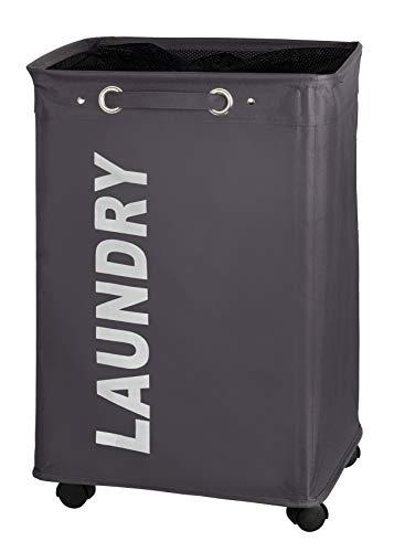 WENKO Wäschesammler Quadro Grau, stabiler schmaler Wäschekorb mit vier leichtgängigen Rollen und Deckel, Wäschetruhe aus 100% Polyester, Fassungsvermögen 79 Liter, (B x H x T): 40 x 60 x 33 cm