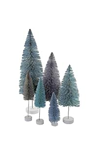 "Deck the halls Collection Set of 6 bottle brush Christmas tree in a winter blue spectrum that fades from a light turquoise blue, to grey, to a dark ice blue Made out of plastic with wooden base Trees measures 6"", 8"", 12"" and 6"" Add an extra pop of co..."