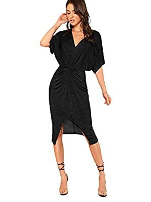 Fabric has elasticity, thin and see through. It's very soft and comfortable to wear Twist front, short sleeve, v neck, split hem, glitter midi dress Occasions: Suitable for party, bachelorette party, dating, dancing, clubwear, evening party, cocktail...