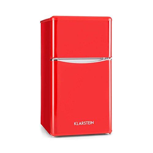Klarstein Monroe Red - Frigorifero e congelatore, Aspetto Vintage, 61 l, congelatore da 24 l, 2...