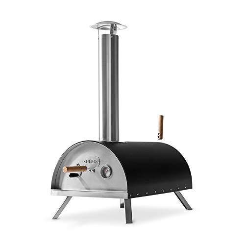 BURNHARD Forno per Pizza da Esterno in Acciaio Inox Nero, con Palla e Pietra per Pizza, Forno a...