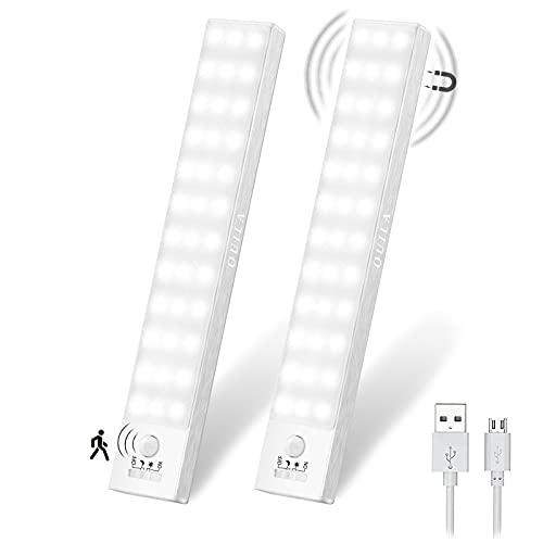 Luz LED Armario Magnética con Sensor Movimiento 36 LEDs 4 Modos Luz LED Adhesiva USB Recargable 800mAh Luz Nocturna para Escaleras, Armario, Pasillo, Cocina, Garaje-2 Packs