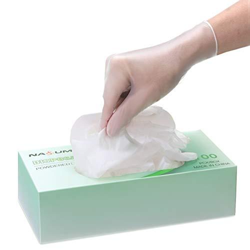 NASUM Mano Cubierta in Gomma PVC, Mano Cubierta Monouso,Micro Elastici Trasparenti Mano Cubierta, 100 PZ (Bianco) (L)