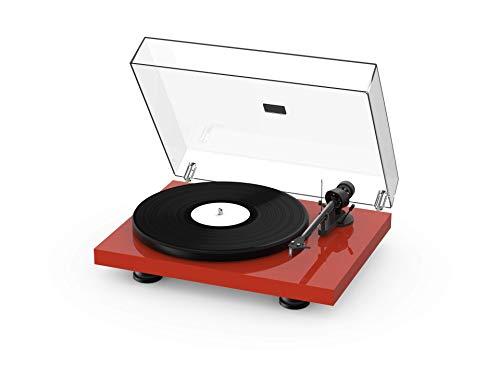 Pro-Ject Debut Carbon EVO, Audiophiler Plattenspieler mit Carbon Tonarm, elektronischer Geschwindigkeitsumschaltung und vormontiertem 2M Red Tonabnehmer (Hochglanz Rot)