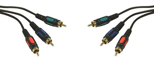 CDL Micro-0,30 Meters, 0,5 M, 50 cm, oro, 3 RCA YPbPr Component RGB YUV con adattatore da maschio a maschio Cavo di collegamento