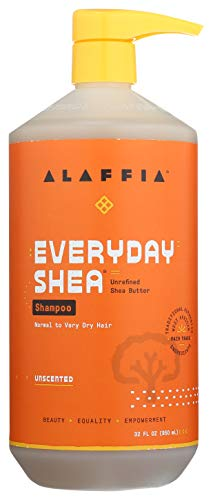 ALAFFIA EVERYDAY SHEA SHAMPOO - Normal to Very Dry Hair, Helps Clean and Protect without Stripping Natural Oils with Shea Butter and Coconut Oil, Fair Trade, Unscented, 32 Ounces