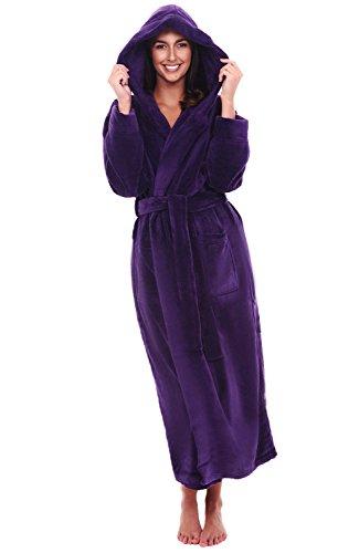 Alexander Del Rossa Women's Plush Fleece Robe with Hood, Warm Bathrobe Small-Medium Purple (A0116PURMD)
