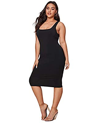 Fabric has elasticity Solid color, plus size, scoop neck, sleeveless, bodycon dress Fit for party, club, night out, dating, evening party Machine wash cold gentle, with like colors, do not bleach. Please refer to Size Chart in Product Description as ...