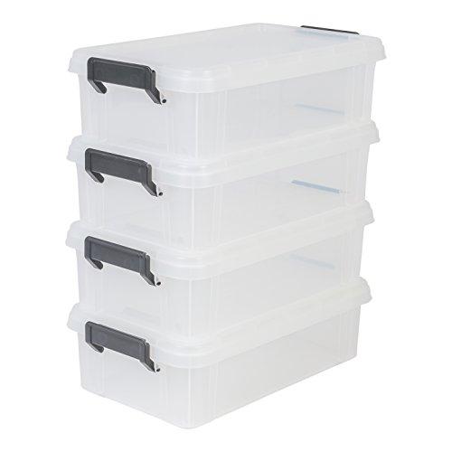 IRIS, 4er-Set Aufbewahrungsboxen / Kisten mit Deckel / Stapelboxen \'Multi Box\', MBX-4, Kunststoff, transparent, 4 L, 36,5 x 21,4 x 10,5 cm