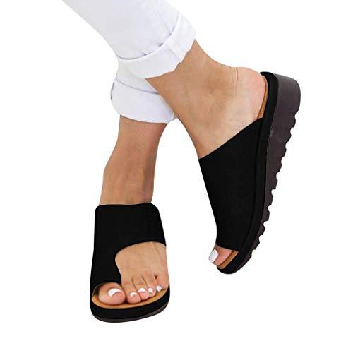 AMYGG Zapatillas de Mujer Vintage Zapatos de Punta Abierta Sandalias de Estilo de Tanga Confort Ortopédicas Originales, Zapatillas Planas de Mujer Chanclas con Punta de Clip de Playa de Verano 40 C