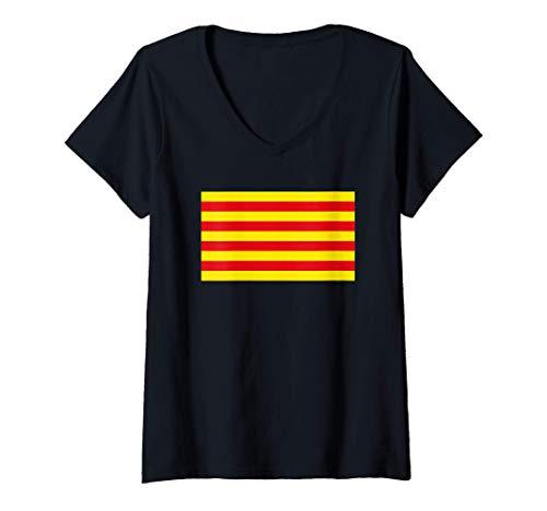 Mujer Bandera catalana de catalán - Senyera Camiseta Cuello V