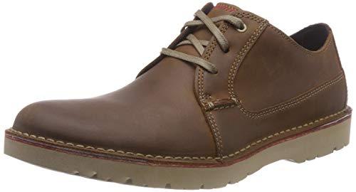 Clarks Vargo Plain, Zapatos de Cordones Derby, Marrón (Dark Tan Leather), 42 EU