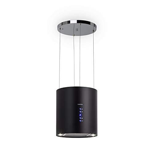 Klarstein Barett - Cappa Aspirante ad Isola, 35 cm, 190 Watt, Potenza Aspirante Fino a 560 m/h, 3 Livelli di Potenza, Illuminazione LED, Acciaio Inox, Nero