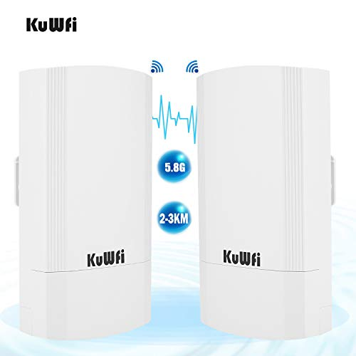 KuWFi 2-Pack Wireless Long Range WiFi Bridge 5.8G 900Mbps Point to Point Access Point Indoor/Outdoor AP CPE Kit Supports 2-3KM Anti-Interference for PTP/PTMP