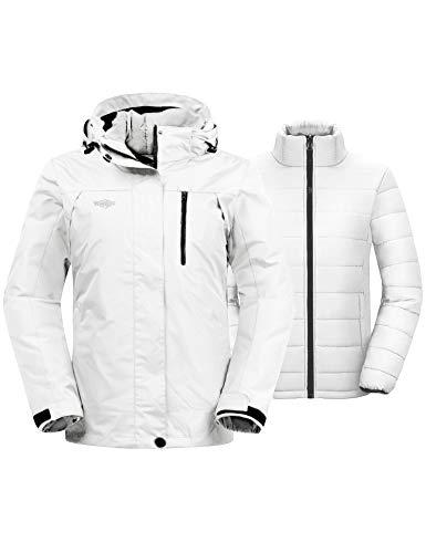 Wantdo Women's Warm Winter Coats Windproof 3-in-1 Ski Jacket Hooded Waterproof Raincoat Ivory M