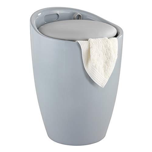 WENKO Hocker Candy Grey - Wohnhocker, Badhocker, Wäschesammler mit abnehmbarem Wäschesack, Kunststoff (ABS), 36 x 50.5 x 36 cm, Grau