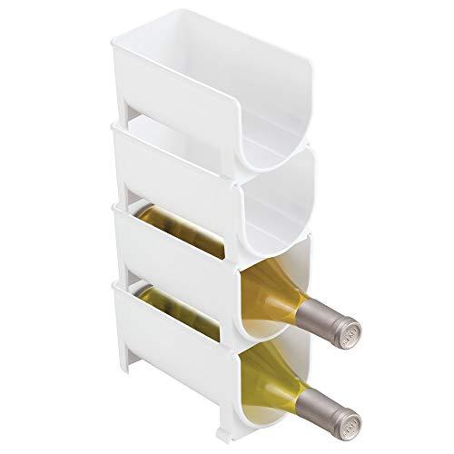 mDesign Portabottiglie vino in plastica robusta Bottigliera e scaffale porta vino per conservazione ottimale di vini Struttura componibile per 4 bottiglie bianco
