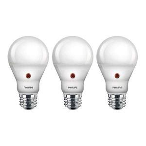 Philips LED Dusk-to-Dawn A19 Frosted Light Bulb: 800-Lumen, 2700-Kelvin, 8-Watt (60-Watt Equivalent), E26 Medium Screw Base, Soft White, 3-Pack