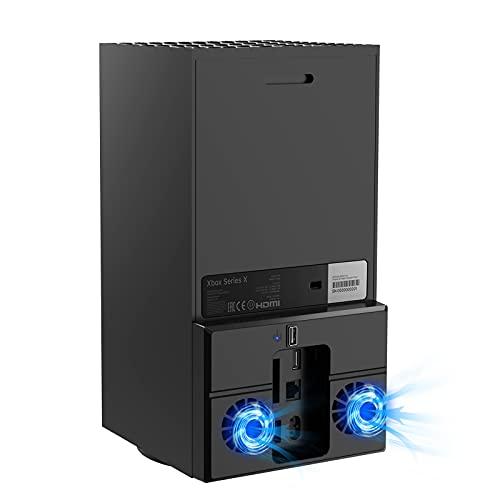 FASTSNAIL Ventilador de refrigeración para consola Xbox Series X, enfriador USB con 1 concentrador USB, ventilador de refrigeración doble para Xbox Series X