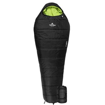 """TETON Sports LEEF Lightweight Adult Mummy Sleeping Bag; Great for Hiking, Backpacking and Camping; Free Compression Sack; Black , Adult - 87"""" x 34"""" x 22"""""""