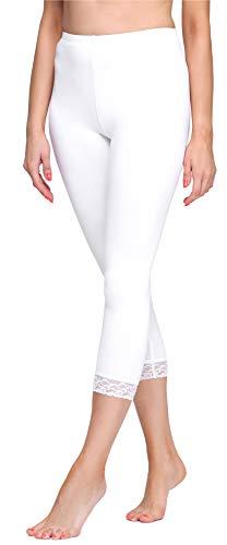 Merry Style Leggings 3/4 Pantaloni Capri MS10-290(Bianco, L)