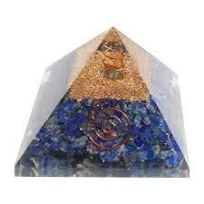 Spiritual Elementz Reiki - Pirámide orgonal azul de curación de chakras (3 pulgadas) con piedra preciosa transparente de cobre metal (para equilibrio y conexión del alma)