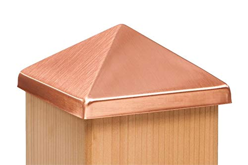 4x4 Post Point Cap - Solid Copper (3-1/2' x 3-1/2') - 10 Pack