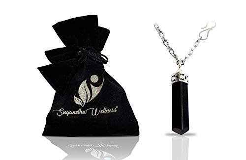 Natural Black Tourmaline Crystal Healing Necklace - for Root...